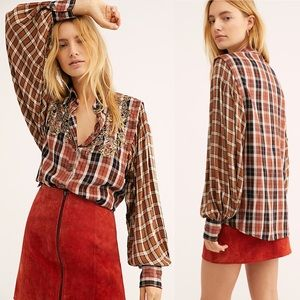 NWT Free People Snow Top Mountains Top S Plaid